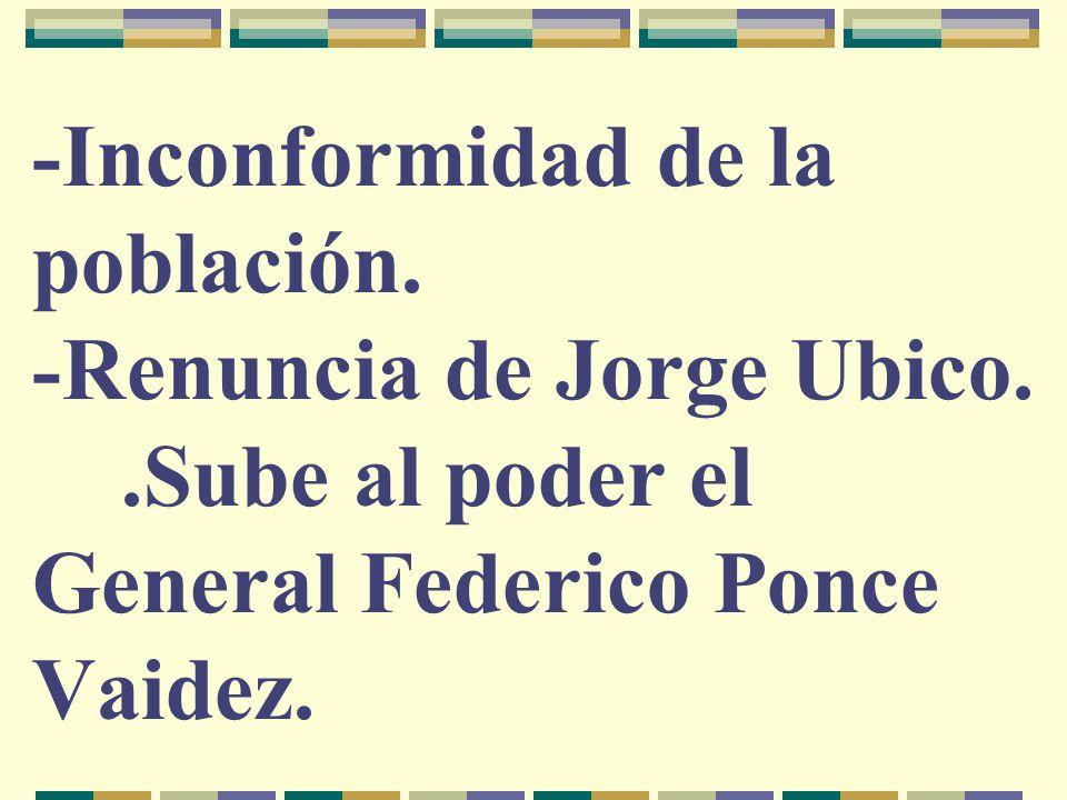 -Inconformidad de la población. -Renuncia de Jorge Ubico