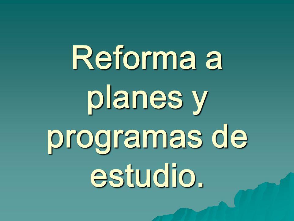 Reforma a planes y programas de estudio.