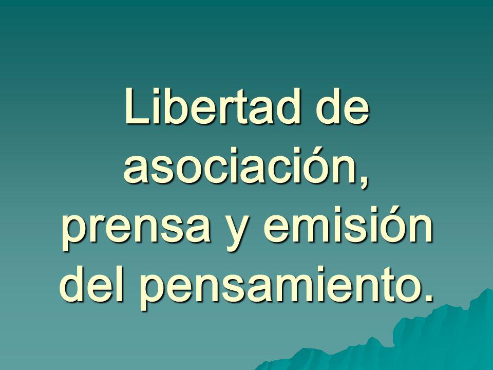 Libertad de asociación, prensa y emisión del pensamiento.