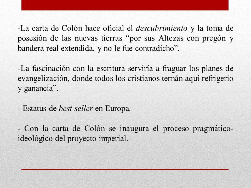 -La carta de Colón hace oficial el descubrimiento y la toma de posesión de las nuevas tierras por sus Altezas con pregón y bandera real extendida, y no le fue contradicho .