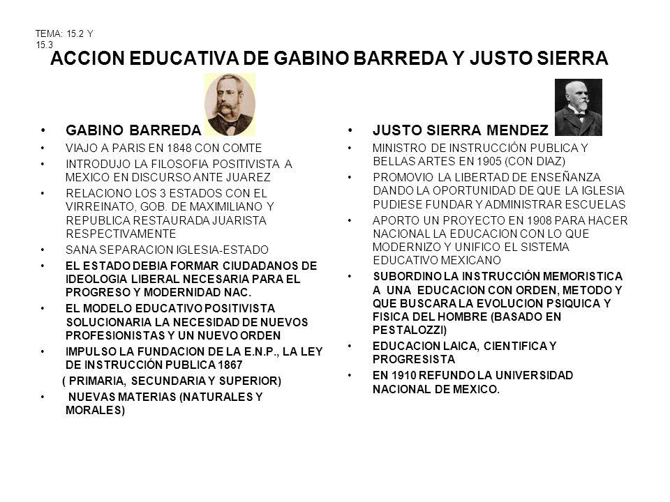 ACCION EDUCATIVA DE GABINO BARREDA Y JUSTO SIERRA