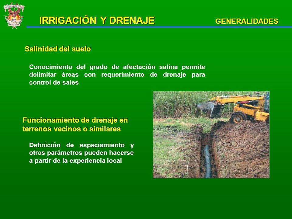 IRRIGACIÓN Y DRENAJE GENERALIDADES Salinidad del suelo