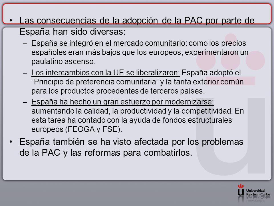 Las consecuencias de la adopción de la PAC por parte de España han sido diversas: