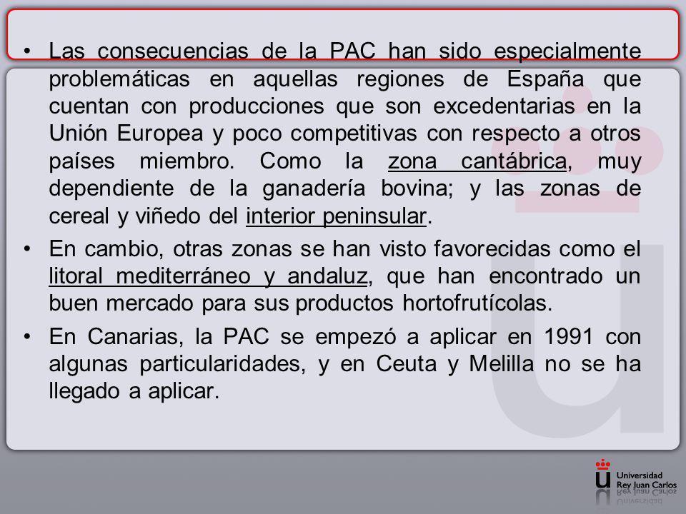 Las consecuencias de la PAC han sido especialmente problemáticas en aquellas regiones de España que cuentan con producciones que son excedentarias en la Unión Europea y poco competitivas con respecto a otros países miembro. Como la zona cantábrica, muy dependiente de la ganadería bovina; y las zonas de cereal y viñedo del interior peninsular.