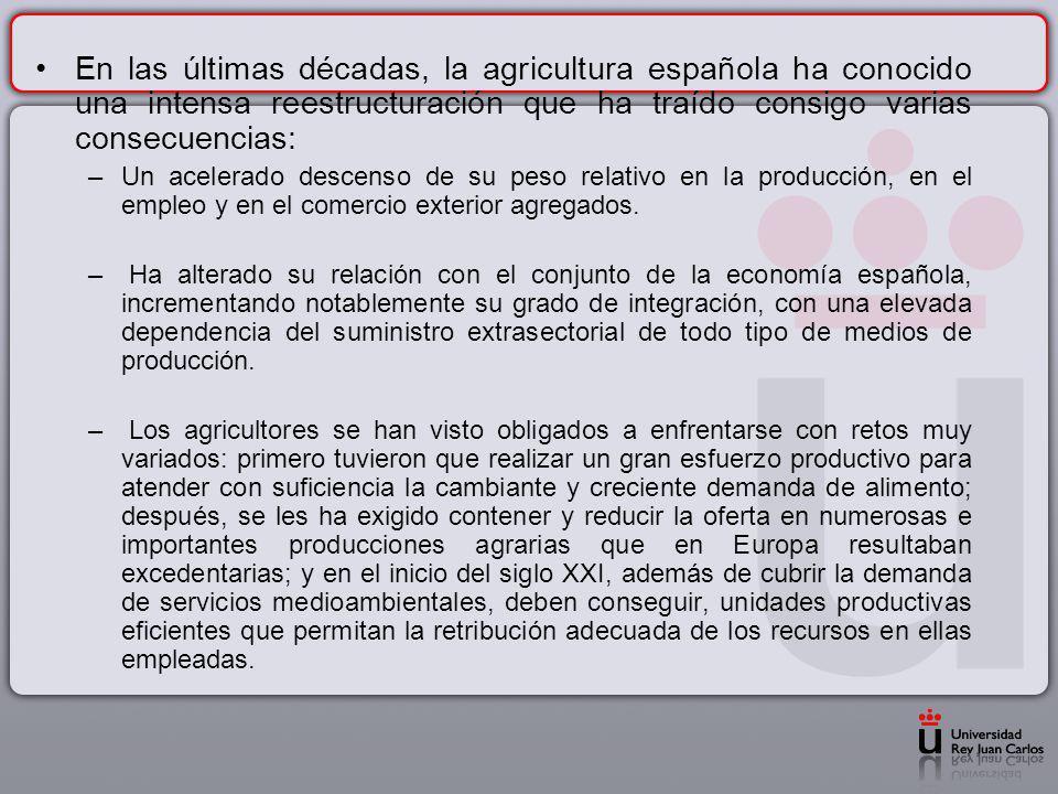 En las últimas décadas, la agricultura española ha conocido una intensa reestructuración que ha traído consigo varias consecuencias: