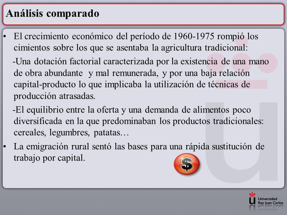 Análisis comparado El crecimiento económico del período de 1960-1975 rompió los cimientos sobre los que se asentaba la agricultura tradicional: