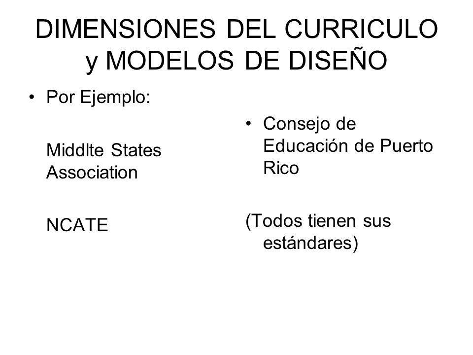 DIMENSIONES DEL CURRICULO y MODELOS DE DISEÑO
