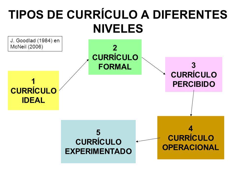 TIPOS DE CURRÍCULO A DIFERENTES NIVELES