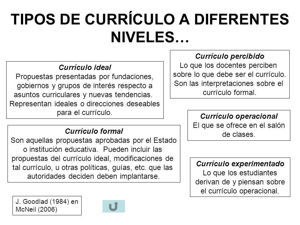 TIPOS DE CURRÍCULO A DIFERENTES NIVELES…