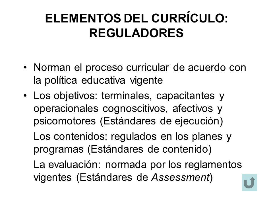 ELEMENTOS DEL CURRÍCULO: REGULADORES