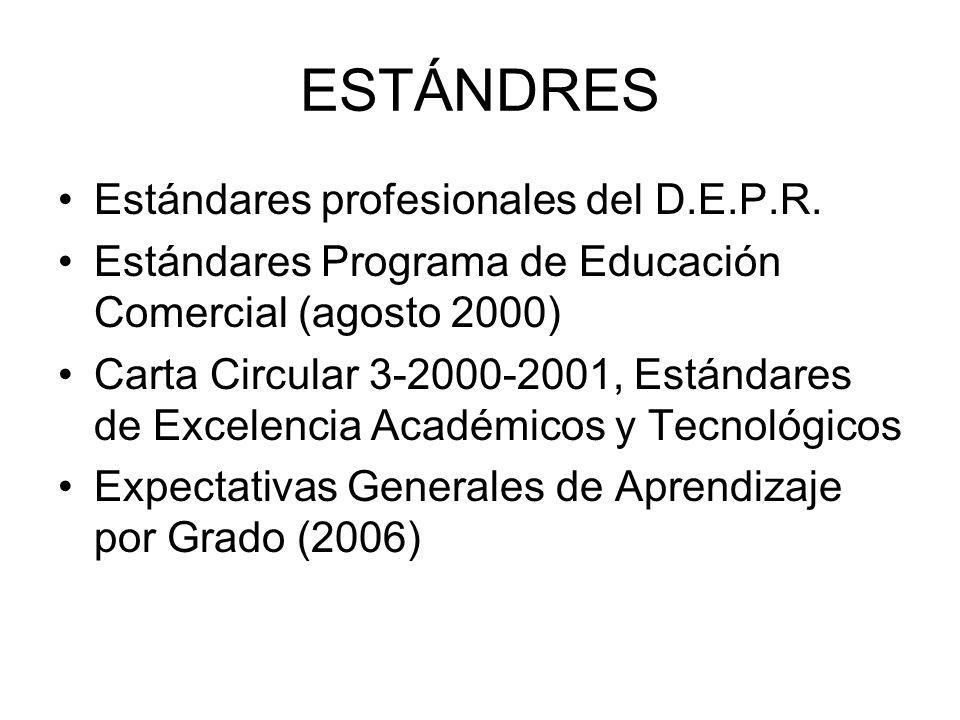 ESTÁNDRES Estándares profesionales del D.E.P.R.
