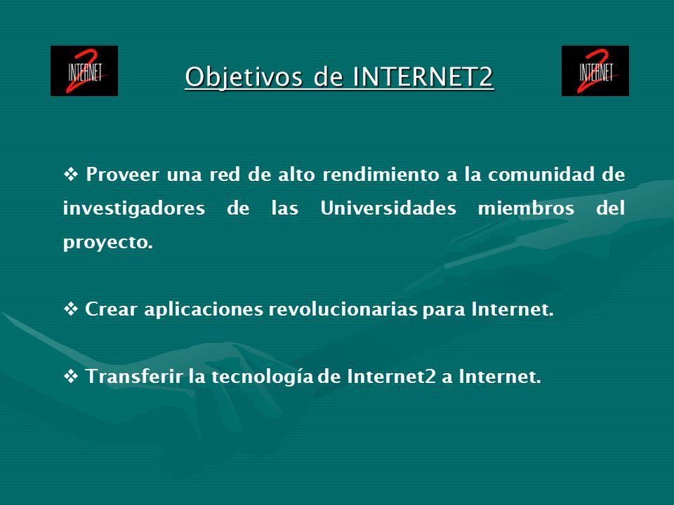Objetivos de INTERNET2 Proveer una red de alto rendimiento a la comunidad de investigadores de las Universidades miembros del proyecto.