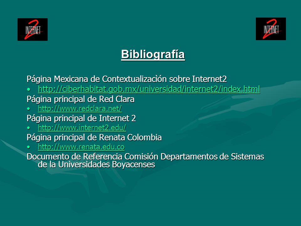 Bibliografía Página Mexicana de Contextualizacìón sobre Internet2