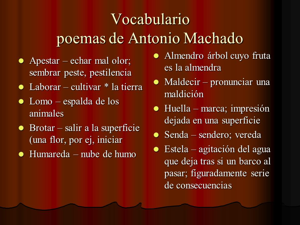 Vocabulario poemas de Antonio Machado