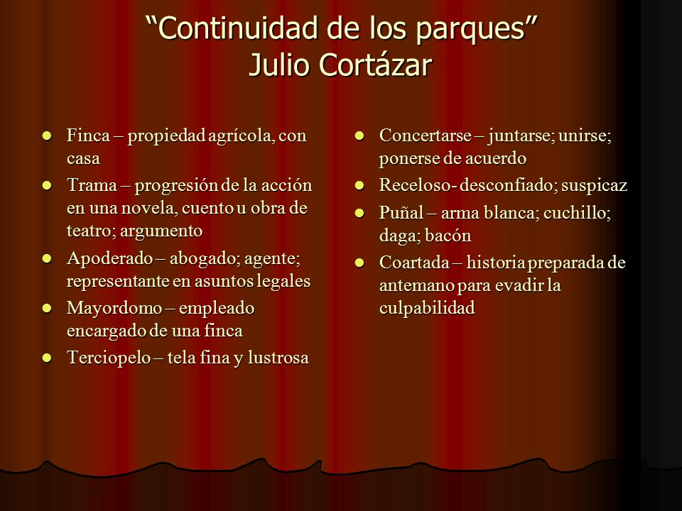 Continuidad de los parques Julio Cortázar