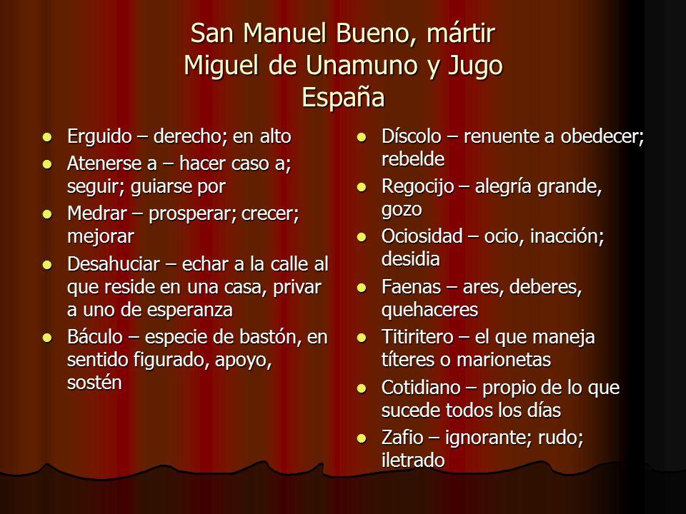 San Manuel Bueno, mártir Miguel de Unamuno y Jugo España