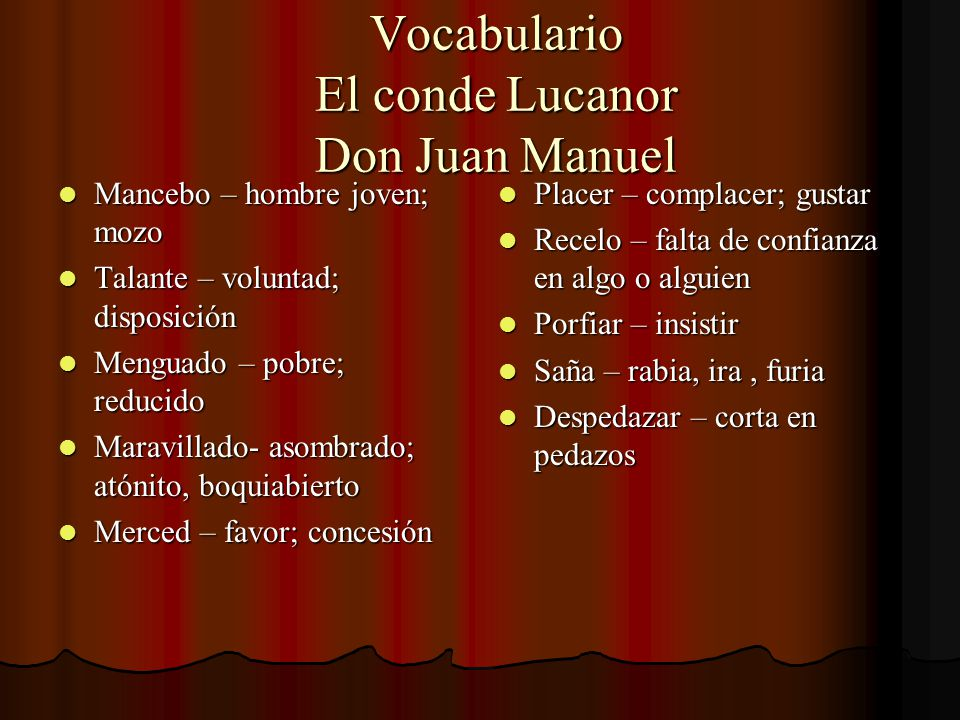 Vocabulario El conde Lucanor Don Juan Manuel