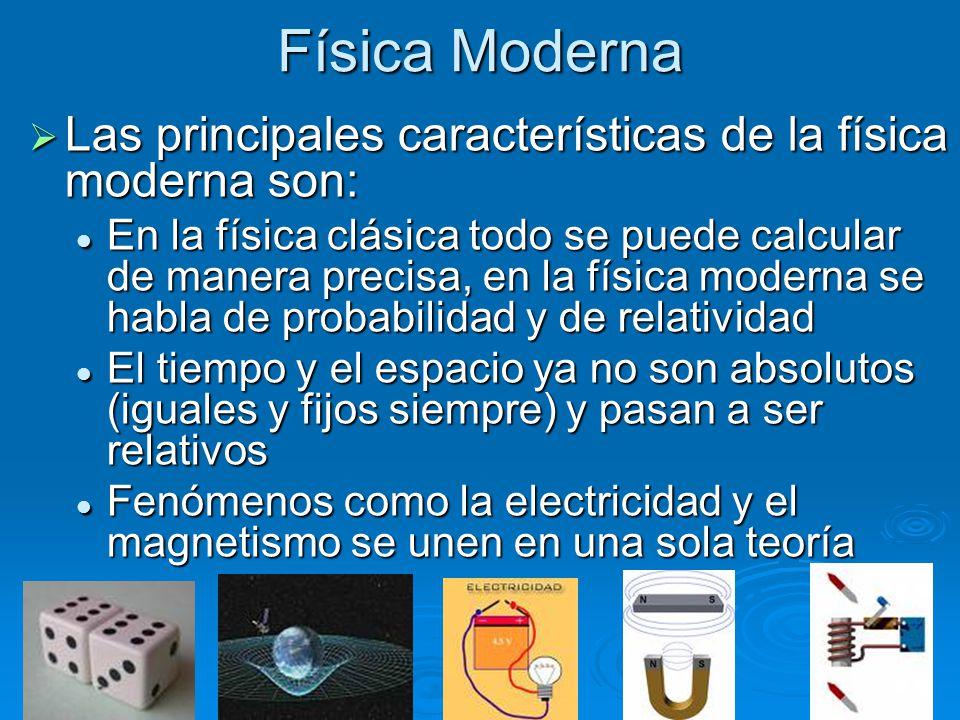 Física Moderna Las principales características de la física moderna son: