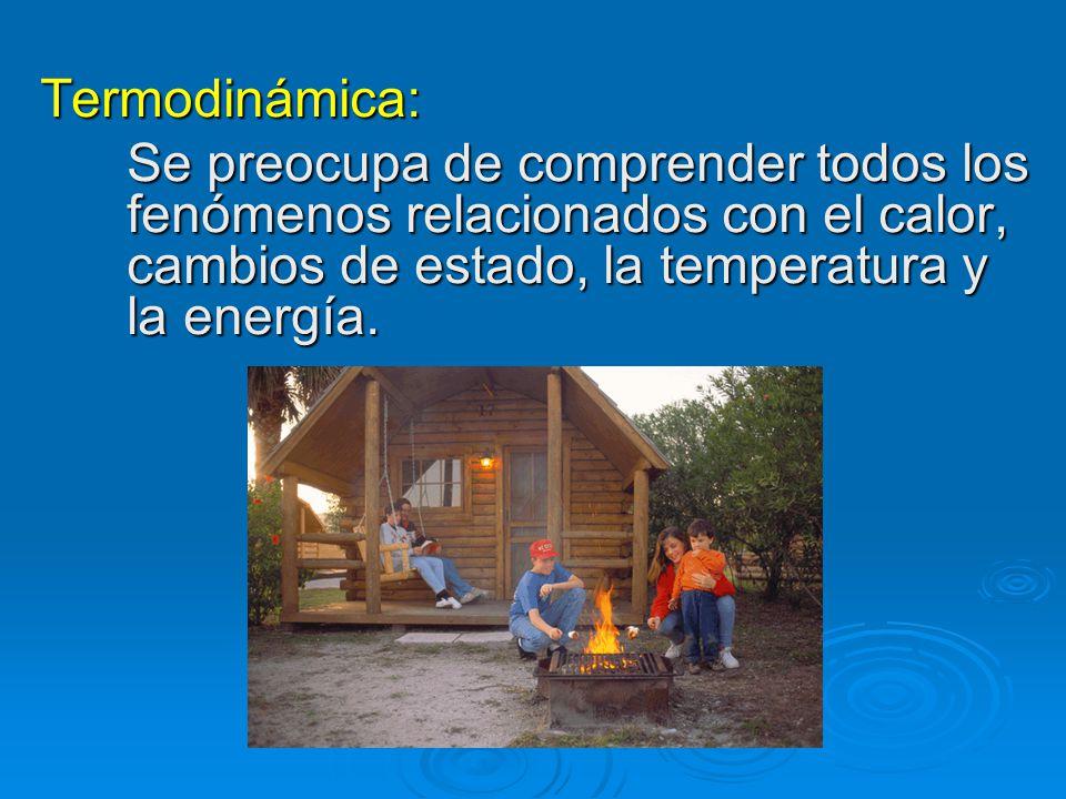 Termodinámica: Se preocupa de comprender todos los fenómenos relacionados con el calor, cambios de estado, la temperatura y la energía.