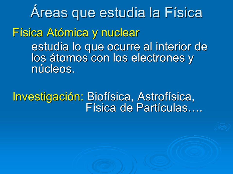Áreas que estudia la Física