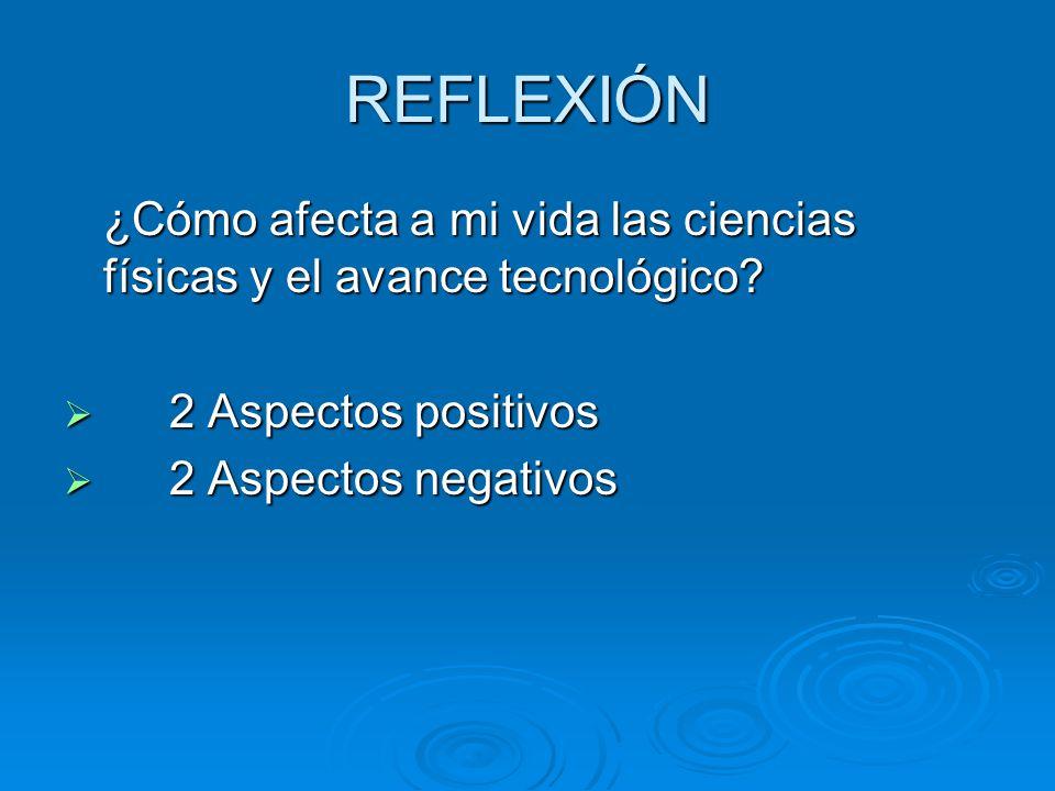 REFLEXIÓN ¿Cómo afecta a mi vida las ciencias físicas y el avance tecnológico 2 Aspectos positivos.