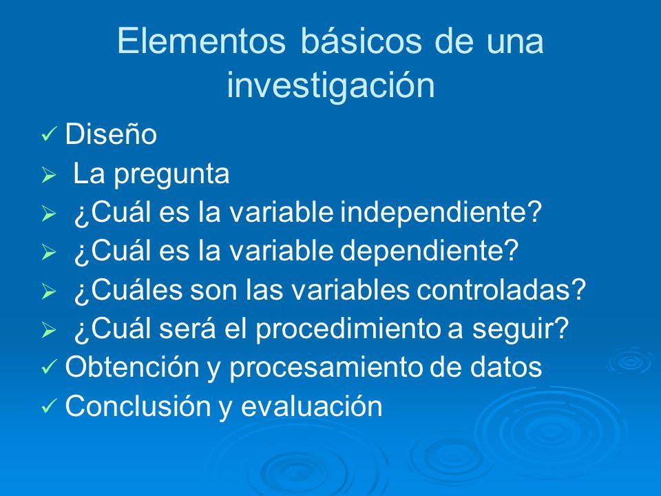 Elementos básicos de una investigación