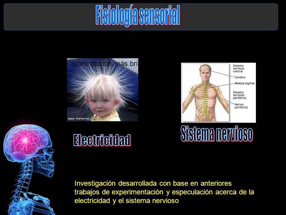 Fisiología sensorial (contribución más brillante de Helmholtz) Sistema nervioso. Electricidad.