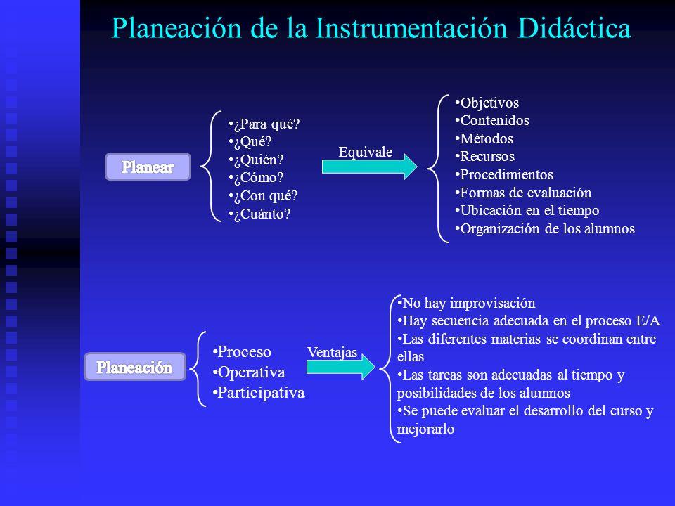 Planeación de la Instrumentación Didáctica