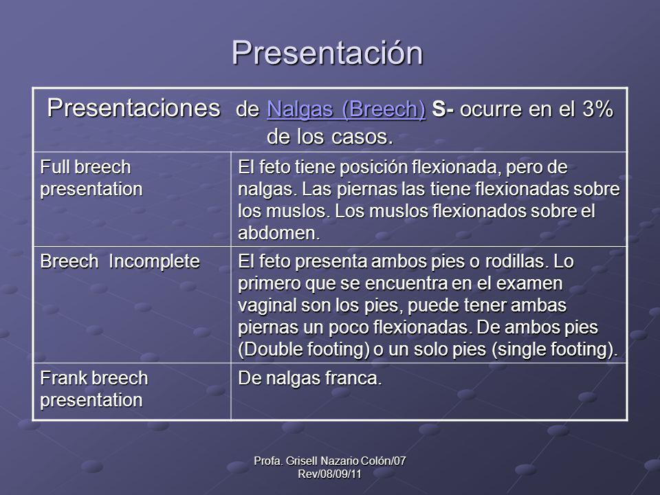 Presentación Presentaciones de Nalgas (Breech) S- ocurre en el 3% de los casos. Full breech presentation.