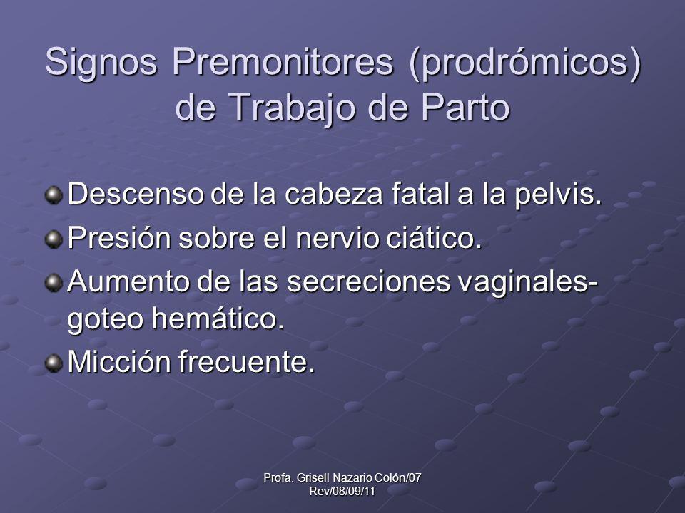 Signos Premonitores (prodrómicos) de Trabajo de Parto