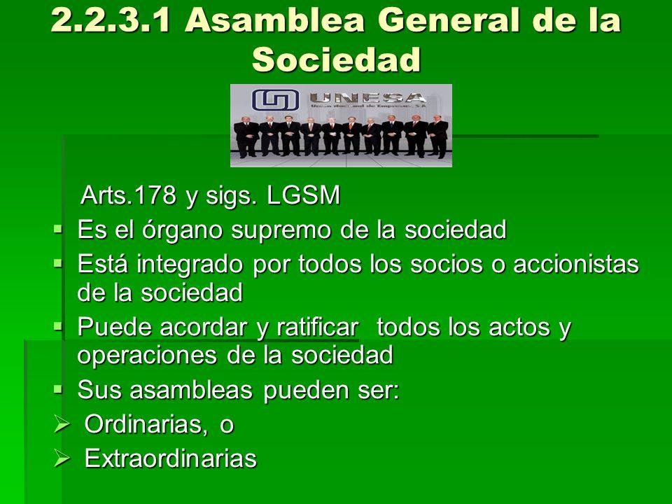 2.2.3.1 Asamblea General de la Sociedad