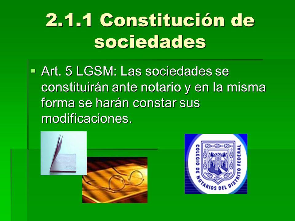 2.1.1 Constitución de sociedades