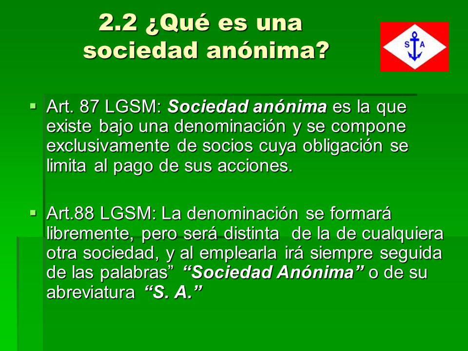 2.2 ¿Qué es una sociedad anónima
