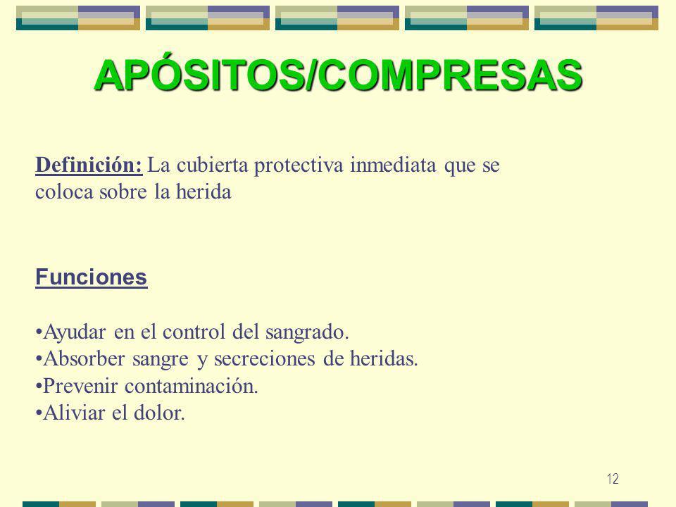 APÓSITOS/COMPRESAS Definición: La cubierta protectiva inmediata que se coloca sobre la herida.