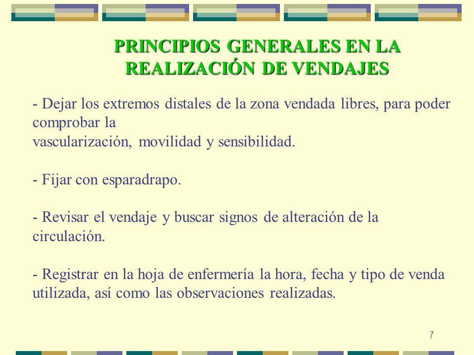 PRINCIPIOS GENERALES EN LA REALIZACIÓN DE VENDAJES