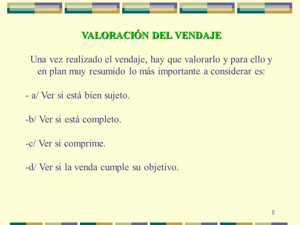 VALORACIÓN DEL VENDAJE