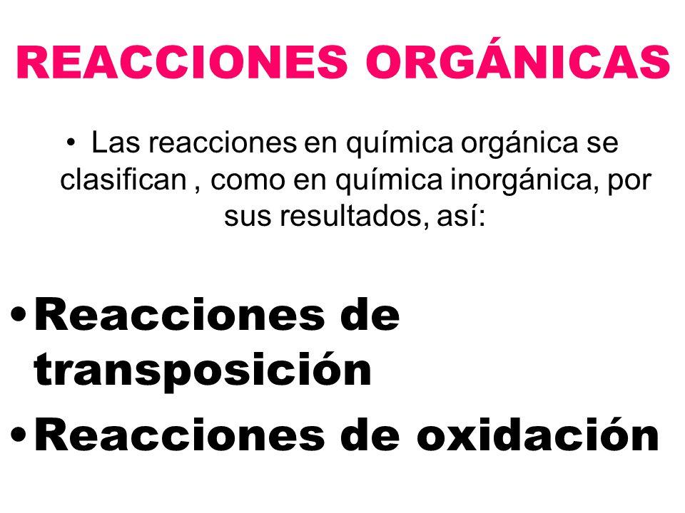 Reacciones de transposición Reacciones de oxidación