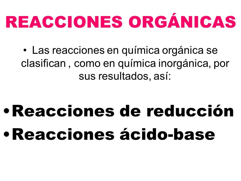 Reacciones de reducción Reacciones ácido-base
