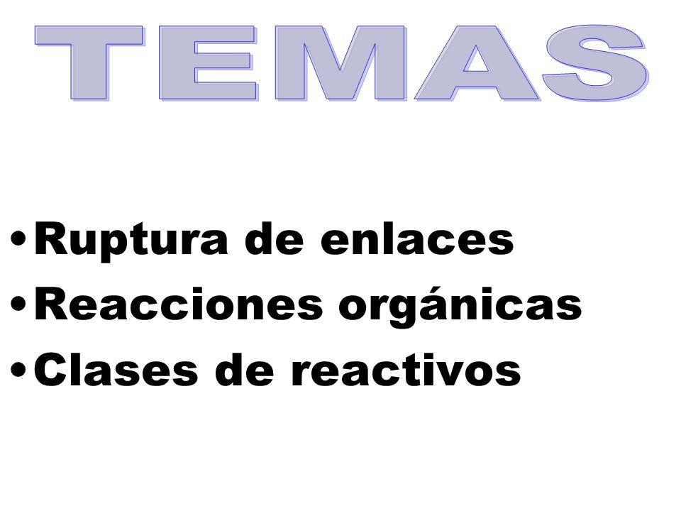 TEMAS Ruptura de enlaces Reacciones orgánicas Clases de reactivos