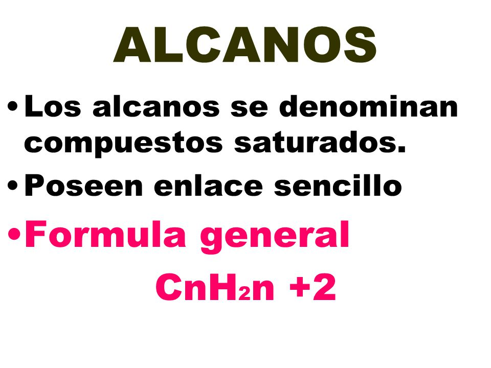 ALCANOS Formula general CnH2n +2