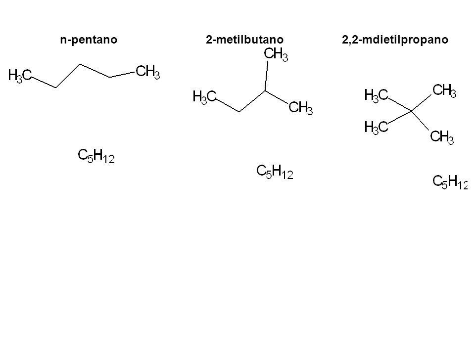 n-pentano 2-metilbutano 2,2-mdietilpropano