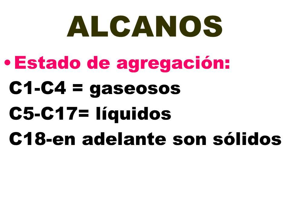 ALCANOS Estado de agregación: C1-C4 = gaseosos C5-C17= líquidos