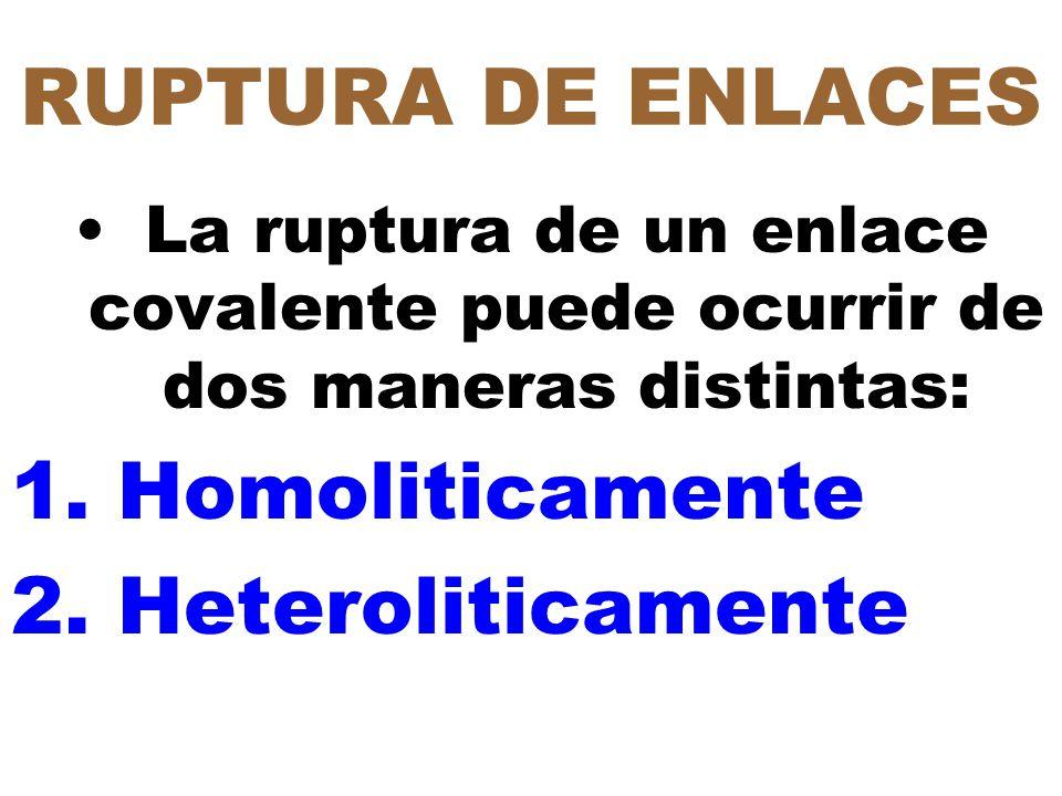 RUPTURA DE ENLACES Homoliticamente Heteroliticamente