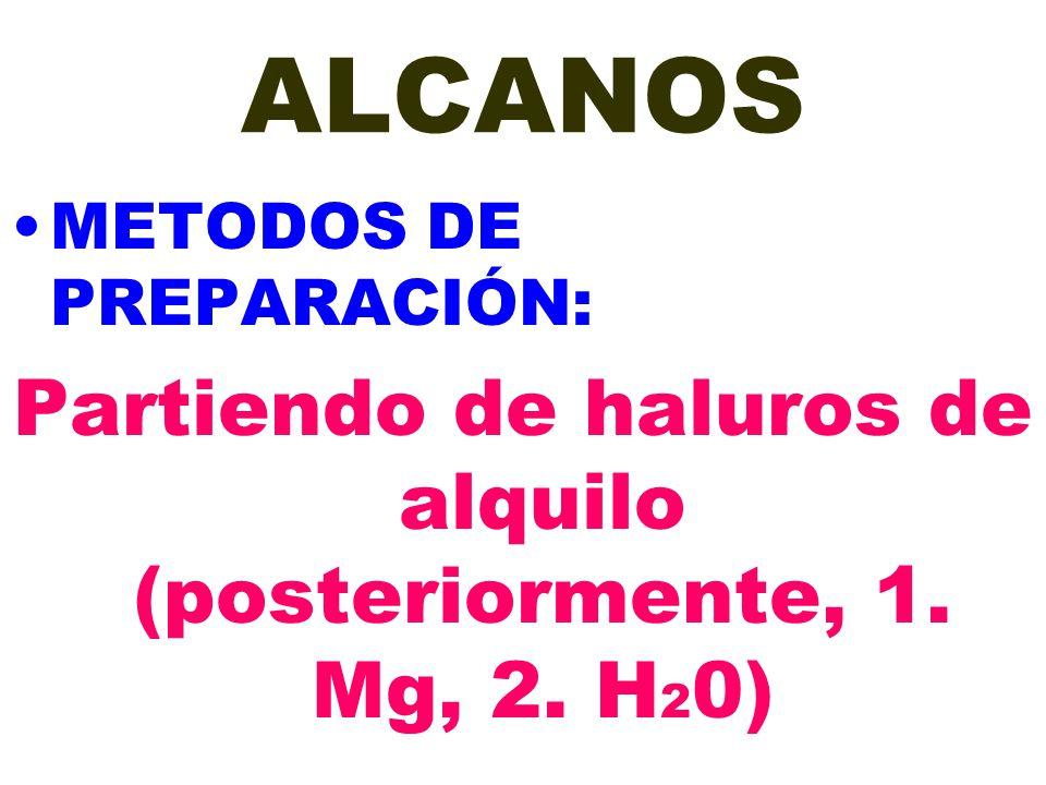 Partiendo de haluros de alquilo (posteriormente, 1. Mg, 2. H20)