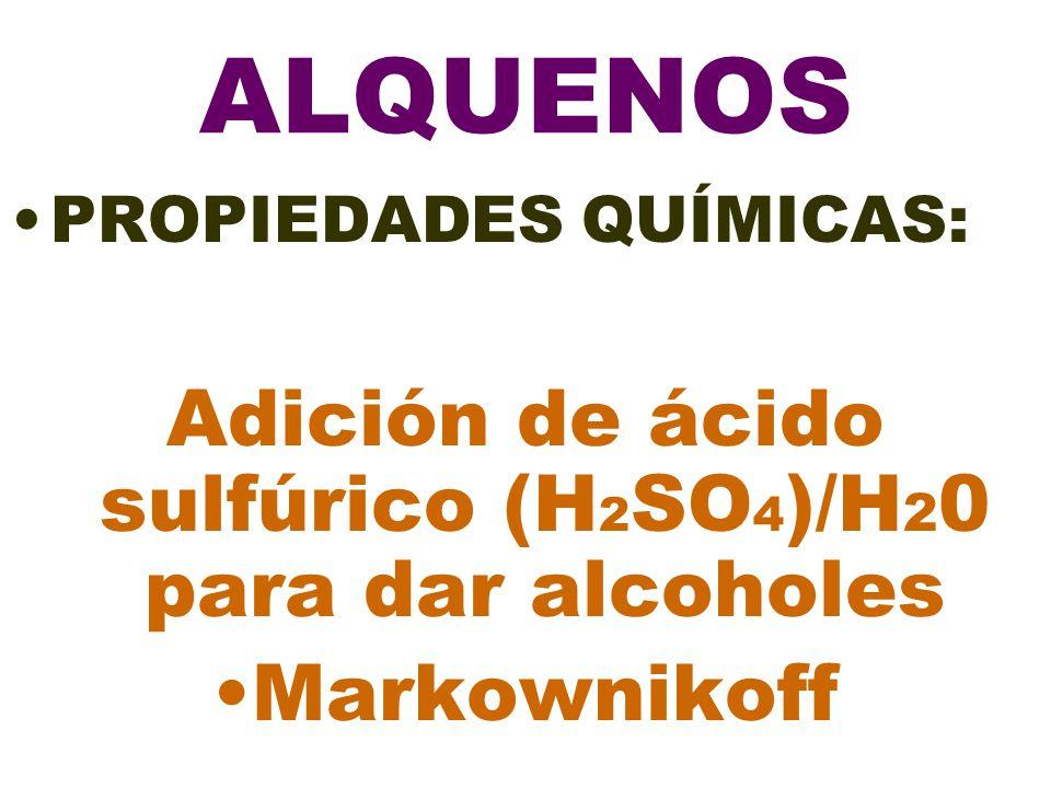 Adición de ácido sulfúrico (H2SO4)/H20 para dar alcoholes