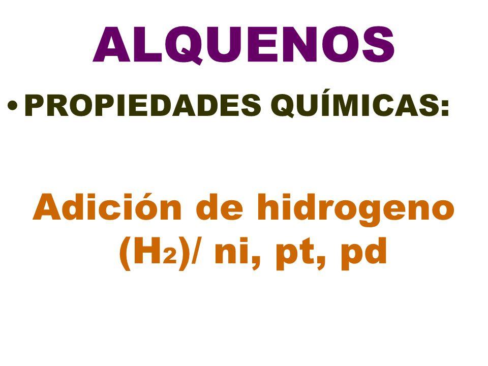 Adición de hidrogeno (H2)/ ni, pt, pd