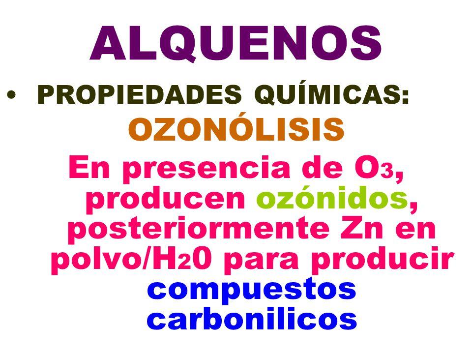 ALQUENOS PROPIEDADES QUÍMICAS: OZONÓLISIS.