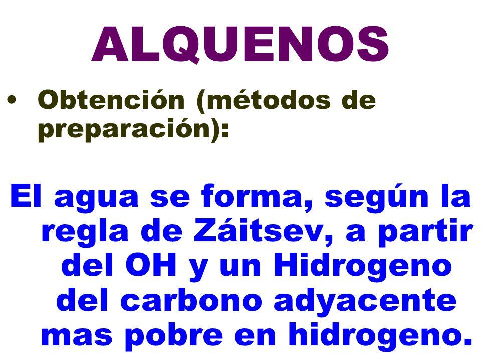 ALQUENOS Obtención (métodos de preparación):