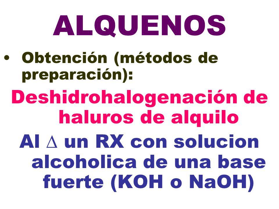 ALQUENOS Deshidrohalogenación de haluros de alquilo