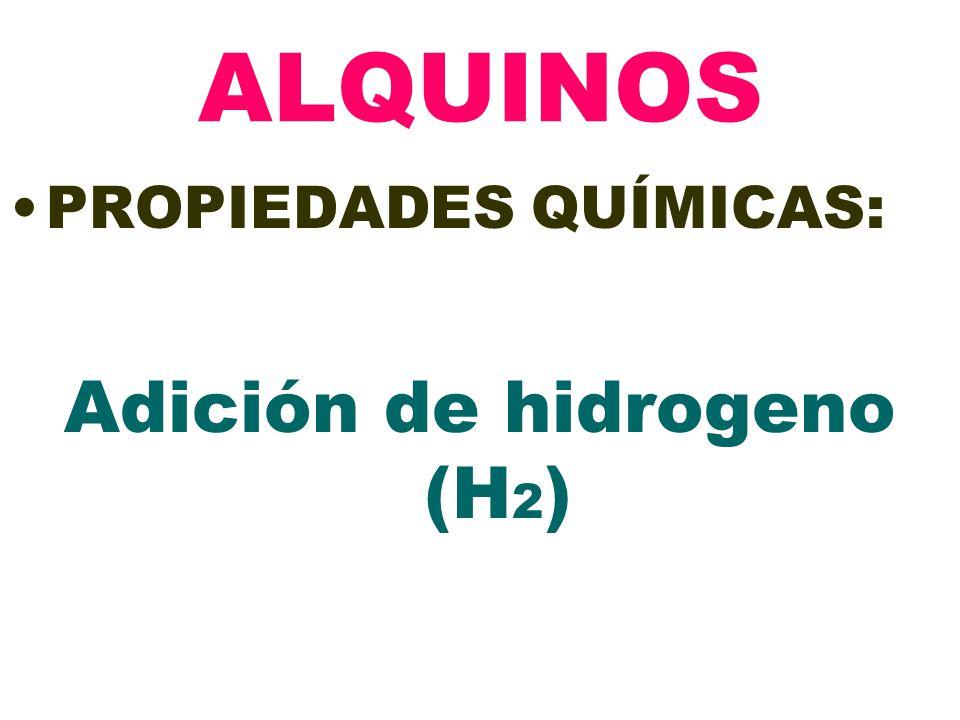 Adición de hidrogeno (H2)